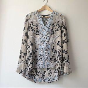 BCBGMaxAzria floral bird crepe blouse